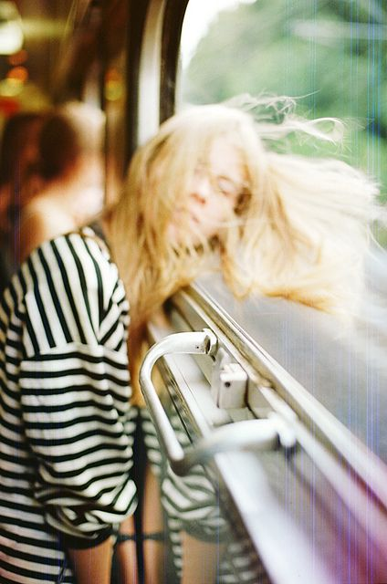 wind blown hair & oversized striped tee #style #fashion #stripes