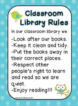 Most Popular Teaching Resources: Classroom Library Rules Poster - Owl Theme {Freebi...