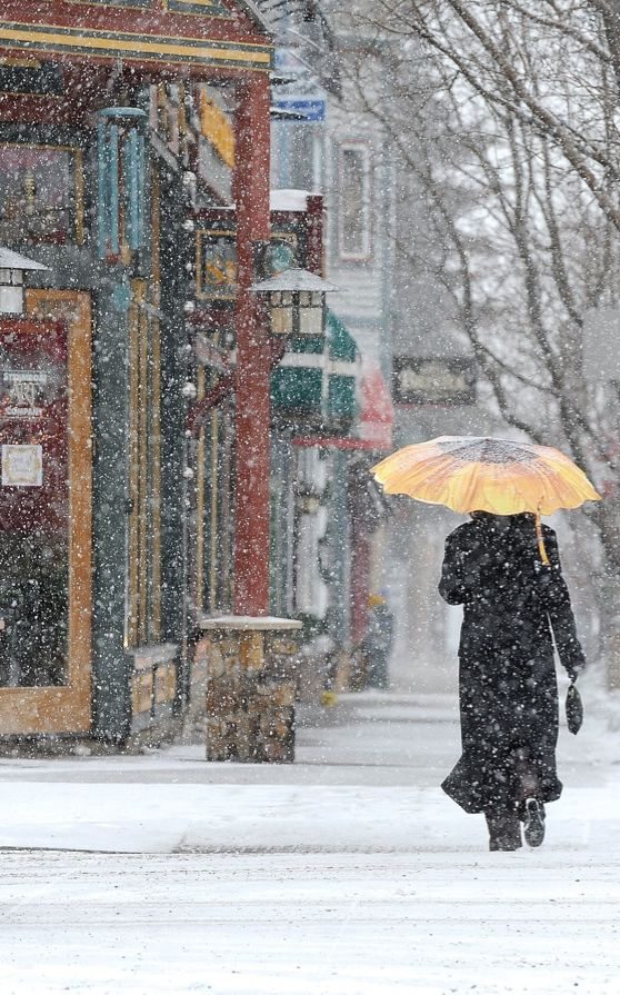 Heavy snowfall in downtown Steamboat Springs, Colorado • photo: John F. Russell on Steamboat Today