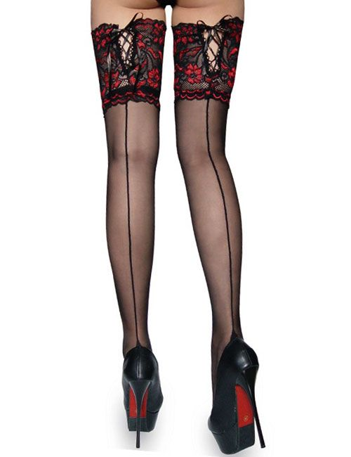 Sheer Cuban Heel Back with Lace Up Stockings