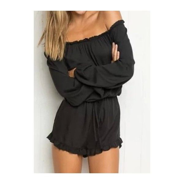 Rotita Long Sleeve Off the Shoulder Black Romper ($20) ❤ liked on Polyvore featuring jumpsuits, rompers, black, long-sleeve romper, playsuit romper, patterned romper, off the shoulder romper and long-sleeve rompers