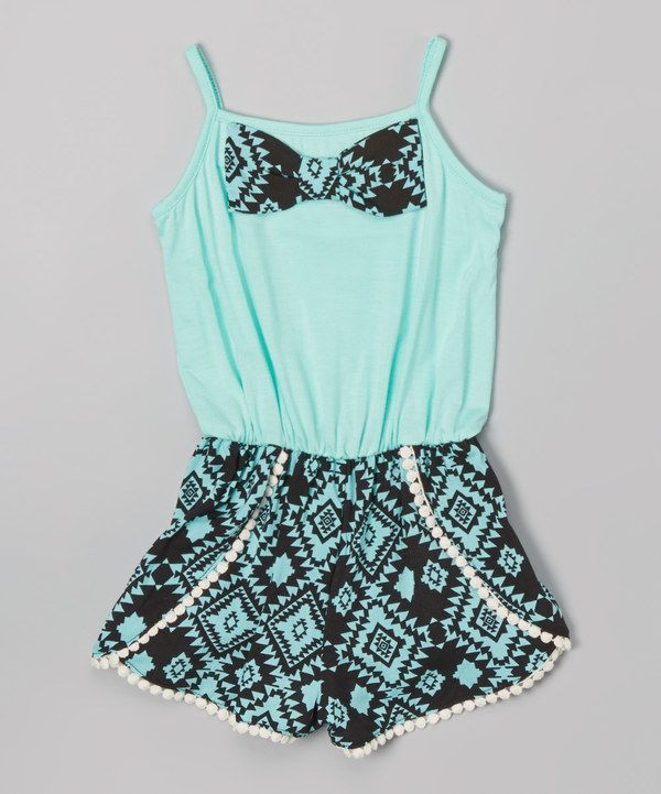 Look at this Maya Fashion Mint & Black Geometric Romper - Toddler & Girls on #zulily today!