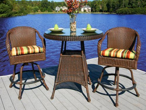 Lexington Wicker Bar Set by Tortuga Outdoor. $1099.00. 100% spun polyester cushions. Outdoor all weather wicker. Java colored wicker. Powder coated aluminum frames. Mildew and fade resistant fabric. This is the Tortuga Lexington 3-Piece Bar Set._ The picture shows the Rave Pine Fabric._ The Lexington 3 piece bar set is a gorgeous set that features Tortuga's popular all-weather materials. It includes two all-weather wicker swivel chairs and the tall bar table. Th...