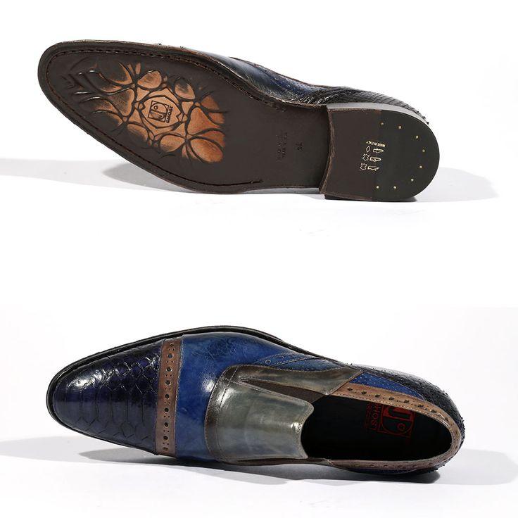 Jo Ghost Men Shoes Italian Print Crust Multi Color Loafers 4292M (JG5144)