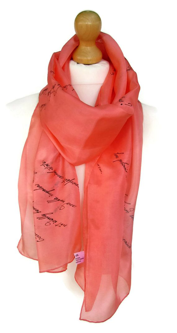 Middlemarch, George Eliot Quotes Literary Hand Painted Silk Scarf,18x72 Inch Hand Written Gift-Wrapped,