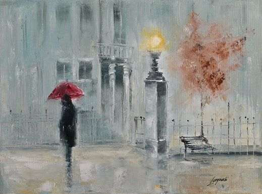Painting by Marek Langowski: It was raining hard when I left the bar late night. After a fairly long and warm summer, the Fall had finally arrived with the first rain of the season...(more)