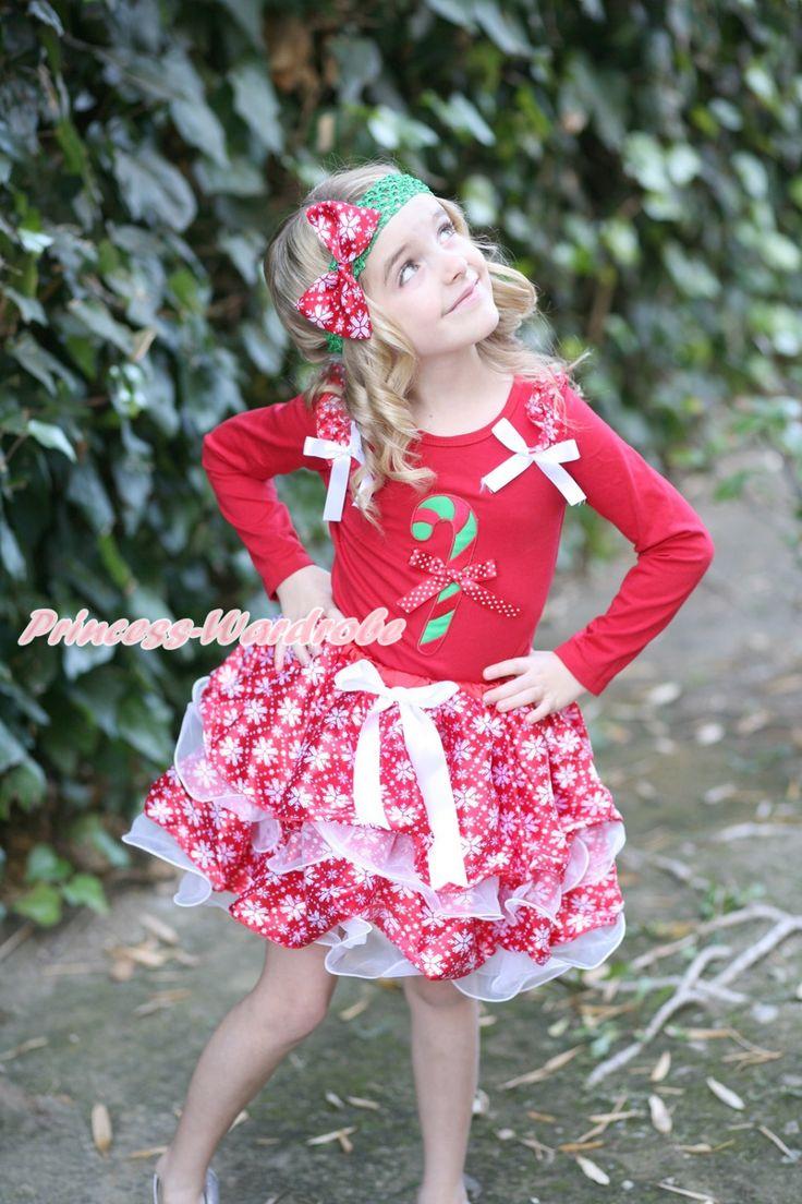 Белый с бантом красный снежинки белый лепесток юбка, Красный с длинным рукавом топ, Красный снежинки рюшами белый с бантом рождество палку, Minniedot с бантом MAMB29