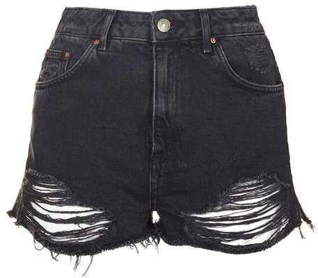 Petite moto ripped mom shorts