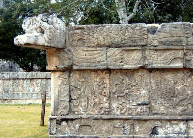 Travel & Lifestyle Diaries: Sculptures depicting Mayan-Toltec warriors in Chichen Itza