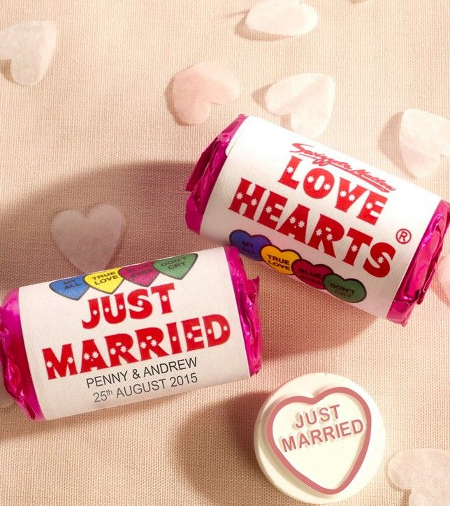 Unique and unusual wedding favours. Personalised love hearts. Find more wedding favour ideas here http://raspberrywedding.com/category/raspberry-wedding/decoration/stationeryandfavours/