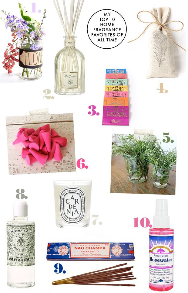top 10 home fragrances - i particularly like the fresh rosemary and the rosewater.
