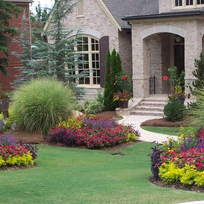 40 front yard landscaping ideas for a good impression for Front flower garden ideas