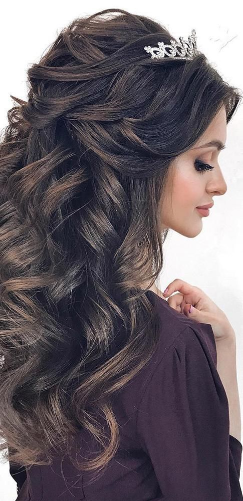 favorite wedding hairstyles long hair volume with curls half up mpobedinskaya