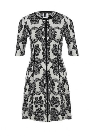 """Платье BCBGMAXAZRIA выполнено из натуральной шелковой ткани с добавлением хлопка. Модель оформлена абстрактным узором. Особенности: приталенный крой, круглый вырез, рукав 3/4, волнистая"""" юбка, платье без застежки и подкладки."""" http://j.mp/WNo0JB"""