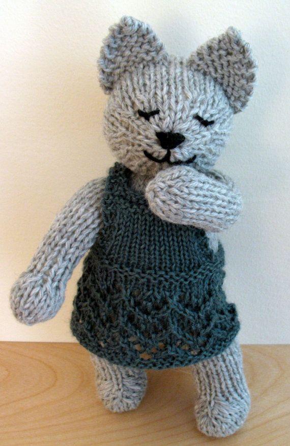 Clémentine--chat de laine tricotés à la main