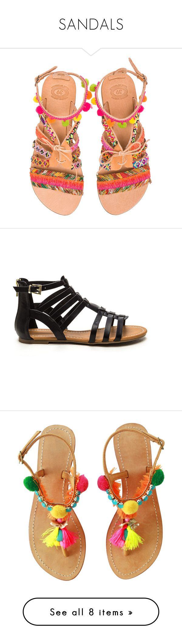"""SANDALS"" by alejandra-rodriguez-villalpando on Polyvore featuring shoes, sandals, flats, leather shoes, woven flats, leather flats, lace up flats, braided sandals, black y black gladiator sandals"