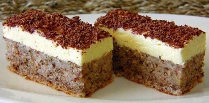 LEVNÝ zákusek z jednoho vajíčka, vlašských ořechů a krému z vanilkového pudinku…