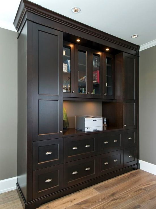 Photo of a mid-sized transitional home office. — Houzz