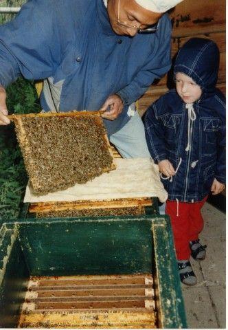 Een broedraampje met honingbijen laten zien voor de bezoekers. En zo wordt het in Gelderland gedaan. Ziet er goed uit!