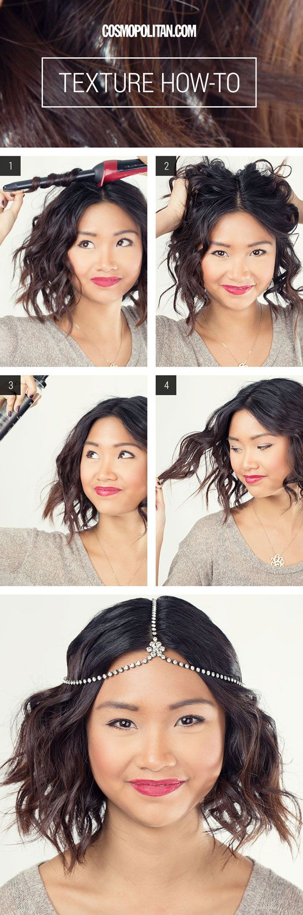 Hair How-To: Perfect Tousled Waves For Shorter Hair! OMG! Perfect for me :D I wonder if you can do these with heatless curlers?