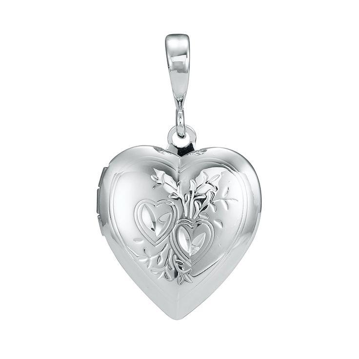 White Gold Layered Heart Locket Pendant | Allure Gold