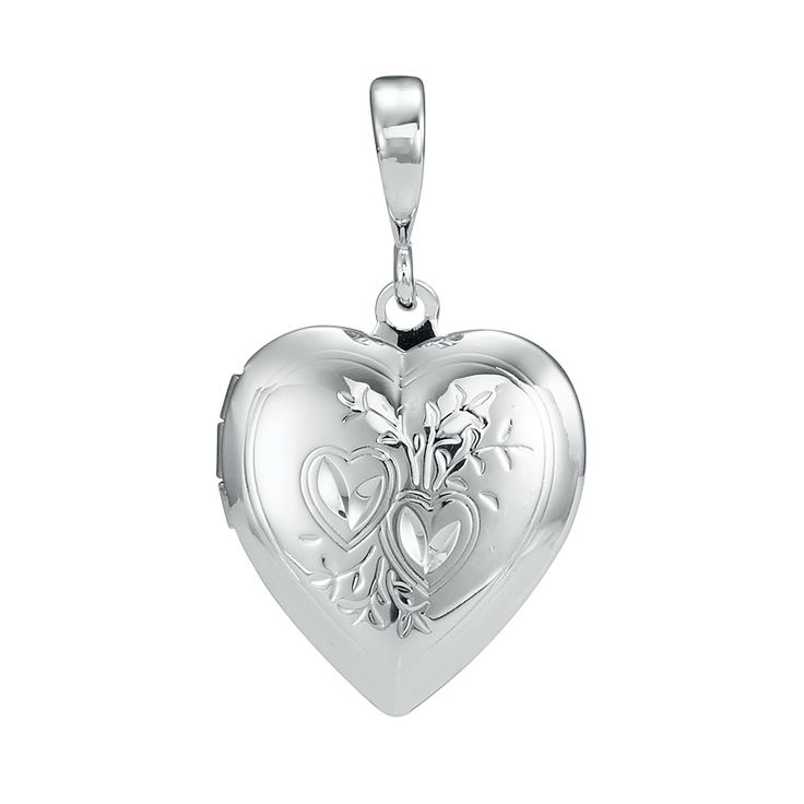 White Gold Layered Heart Locket Pendant | Allure Gold