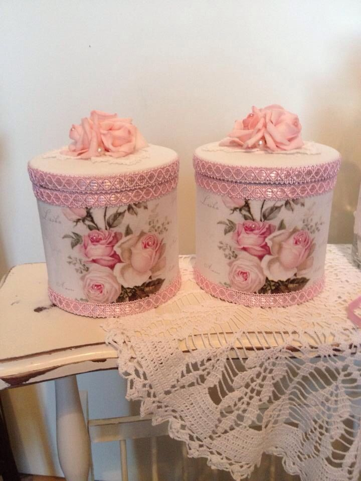 Nice ideas for altering boxes or cans to make pretty storage containers!