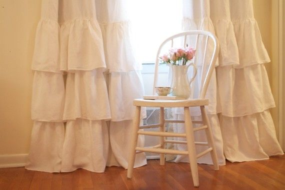 Cream Ruffled Linen Curtains | Beautiful, Romantic and I'm done