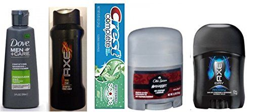 Axe Mens Deodorant  Old Spice Swagger Deodorant  Crest Complete Toothpaste  Axe Dual 2 in 1 Shampooo  Dove Mens 2 in 1 Conditioner Travel Size >>> You can get more details by clicking on the image.