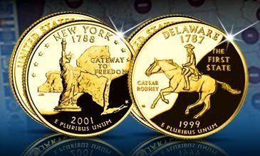 USA Quarters - Pamětní čtvrtdolarovky zušlechtěné 24karátovým zlatem