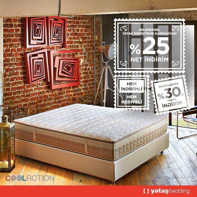Bağımsız hareket eden yayları ve eşsiz ısıl konforu ile #Cool #Action yataklarda net % değiştirme indirimi, üstelik #Handy Yastık hediyeli.