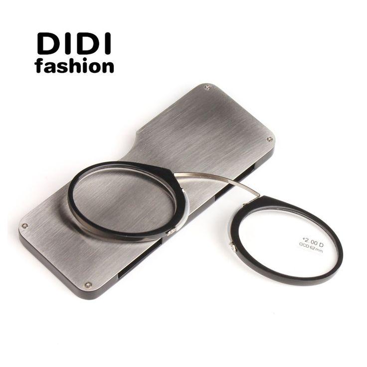 DIDI Titanium Mini Reading Glasses Clip Nose Round Optical Glasses With Box Wallet Prescription Eyewear Degree 1.0 To 3.5 U606