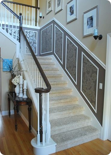 I love the chair railDining Room, Decor Ideas, Stairs, Dresses Up, Staircases,  Handrail,  Banister, House, Pictures Frames
