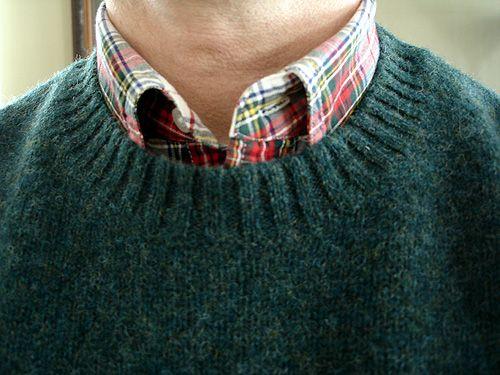 L.L.Bean spruce shetland sweater, Lands' End Sail Rigger in Modern Stewart Dress Tartan.