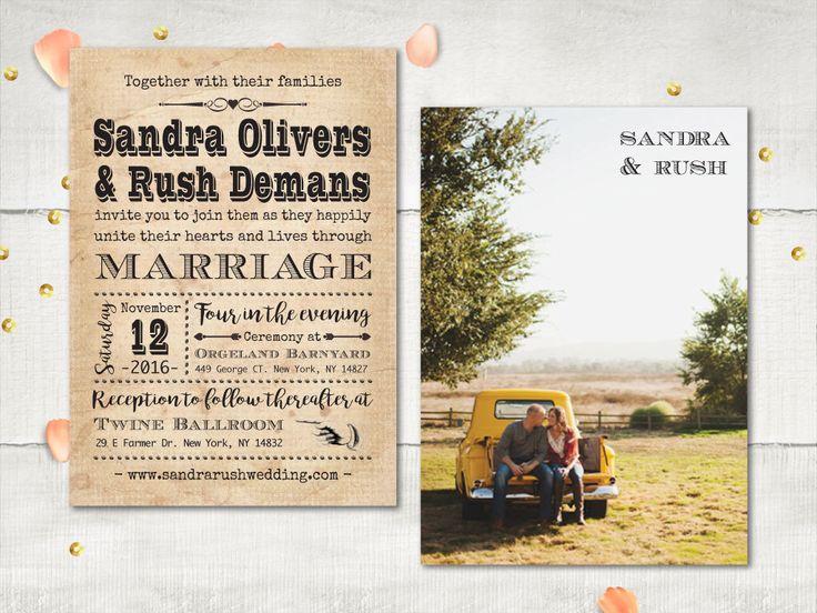 Photo Wedding Invitation, Vintage Typography Poster Invitation, Rustic Retro Country Invitation, DIY Printable, Cheap Invitation (Genivee) by VintageBellsAndCo on Etsy https://www.etsy.com/listing/278317422/photo-wedding-invitation-vintage