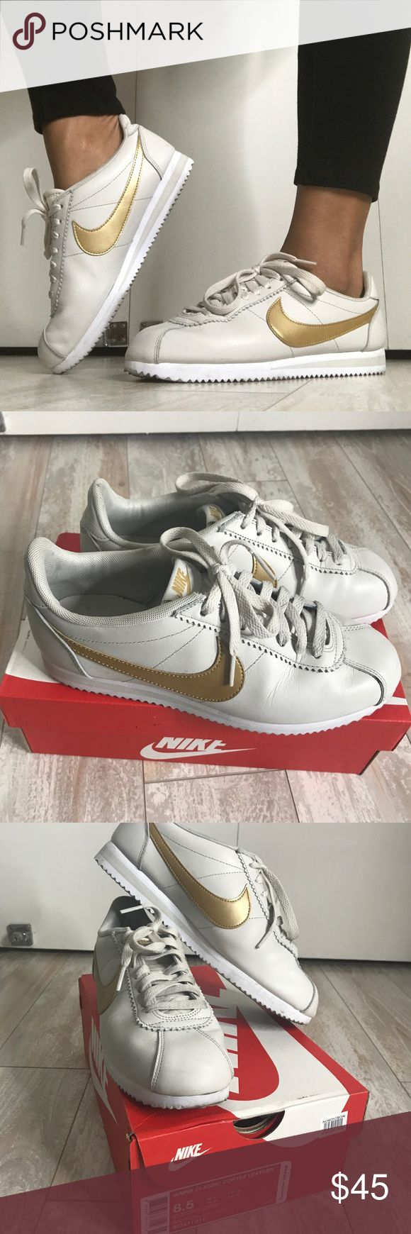 Nike Classic Cortez Sneaker Bone color with gold signature Nike Swoosh, chevron-tread rubber sole, leather upper sole, true to size, worn once and in nearly perfect condition with original shoe box Nike Shoes Sneakers