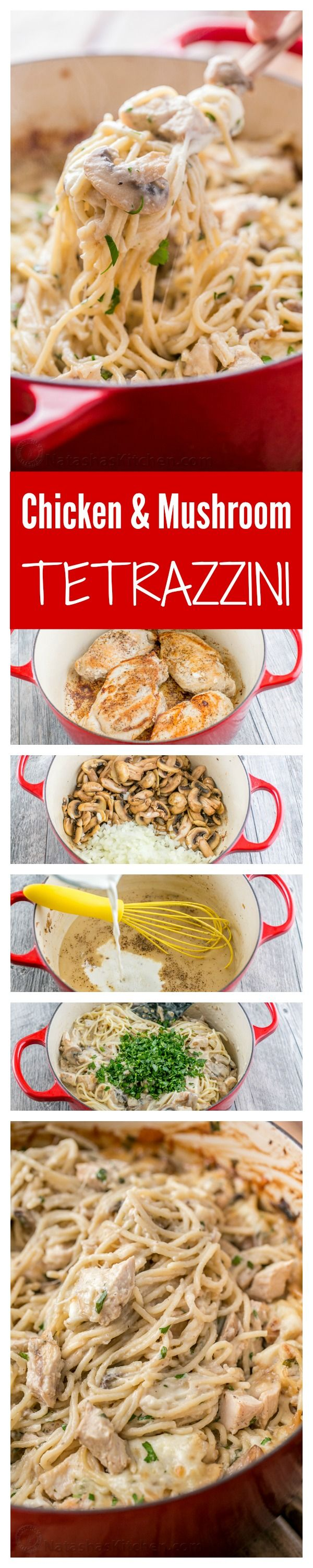 Chicken Tetrazzini is a comforting, cheesy, supremely creamy chicken pasta bake. This chicken pasta casserole will have your family refilling their bowls!