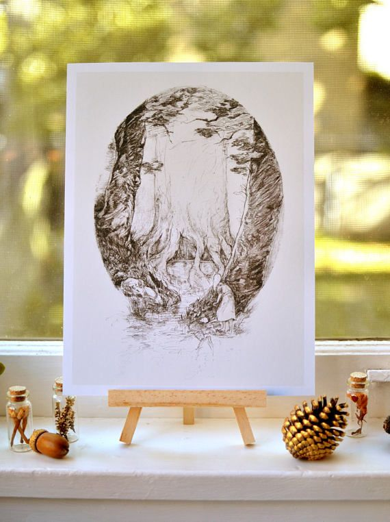 The Spring  woodland art print  pencil illustration