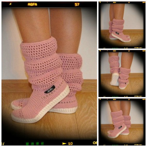 Crochet Boots Crochet Knitted Shoes adult  Outdoor by ukicrafts