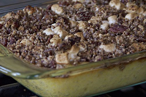 white yam and candied bacon casserole