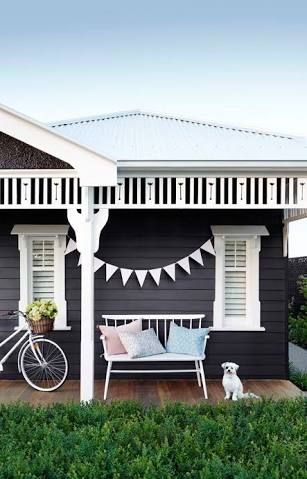 Image result for dark blue weatherboard house