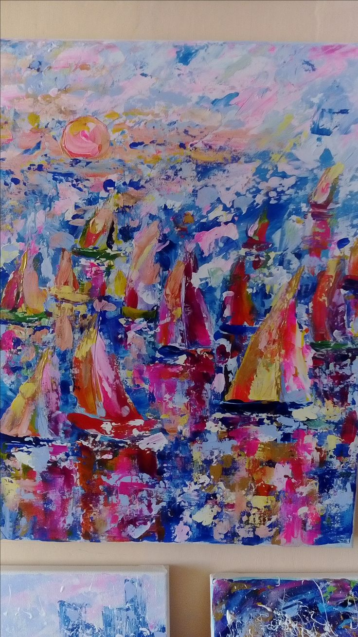 Sea  sailboats sunnsed Acrylic painting