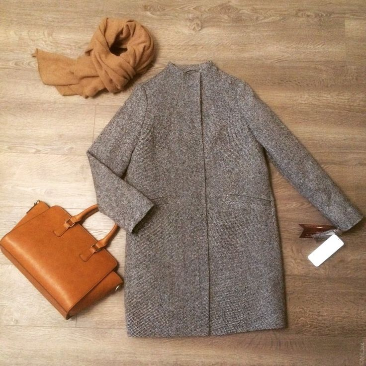 Зимнее пальто прямого силуэта с втачным рукавом, твид. Арт. 421у