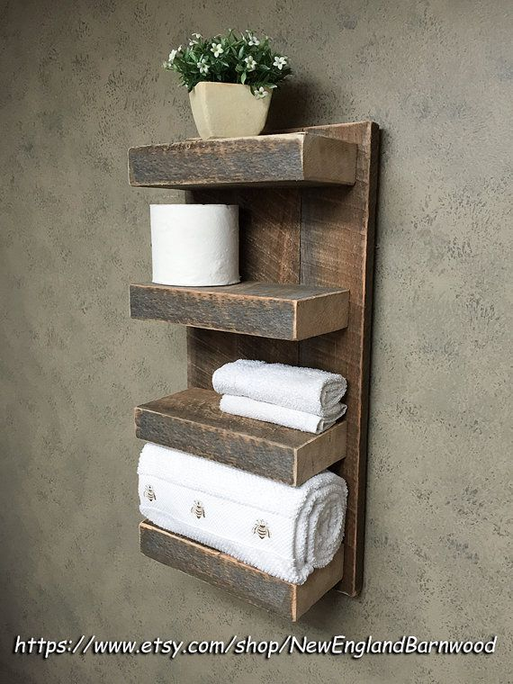 BATHROOM 4 TIER Wall Shelf, Rustic bathroom décor, Rustic bathroom organizer, This is perfect for your bathroom, or would even be a great
