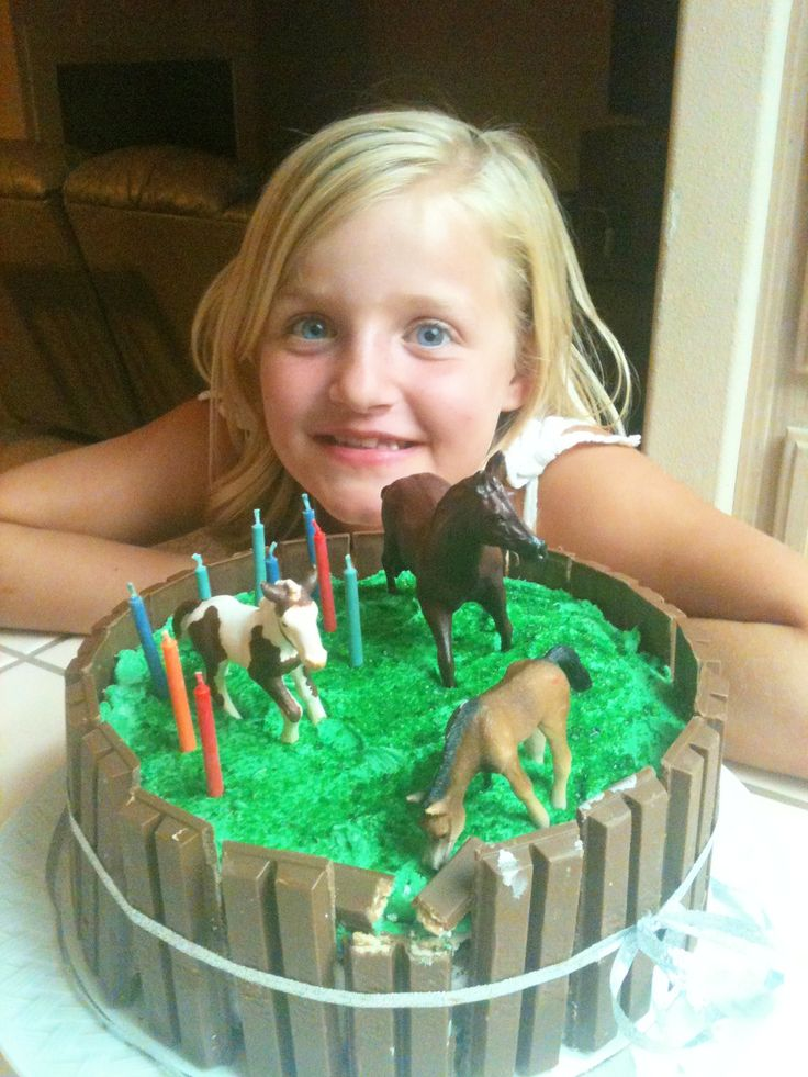 a MOST POPULAR RE-PIN: Horse Pasture Cake. Added by DianaDee - https://www.pinterest.com/DianaDeeOsborne/cheat-sheet-fast-food-joy/ No need to get icing perfect! Kit Kat candy bars= brown fence; fancy long coconut tinted bright green for grass; well washed(!) toy horses! 2 brown ribbons to hold fence in place create more realism for wood fence. Chocolate cake makes great dirt. Use dark brown & tan mini M&Ms as rocks stirred into cake batter. Yields 12 servings & one really happy #Birthday…