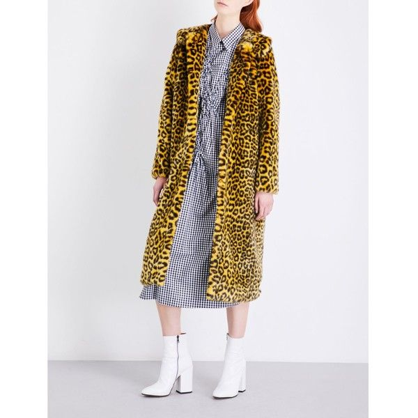SHRIMPS Patrick faux-fur coat ($805) ❤ liked on Polyvore featuring outerwear, coats, fake fur coats, leopard faux fur coat, shrimps coat, long sleeve coat and leopard print coat