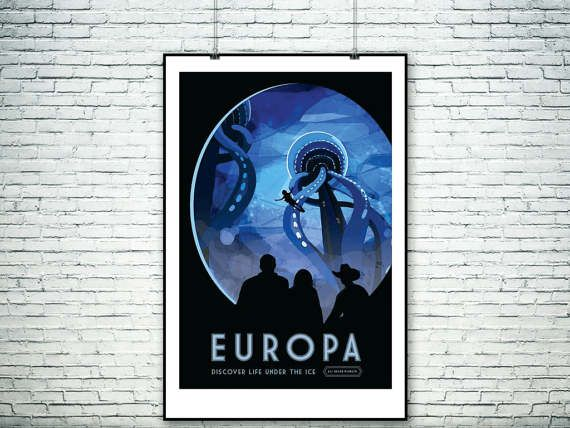 NASA travel poster to Jupiter's moon by PasteUpStore on Etsy