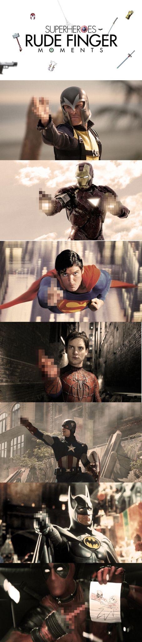 If Superheroes reacted like us regular folks. 'Superheroes - Rude Finger Moments' by Danish Hasan