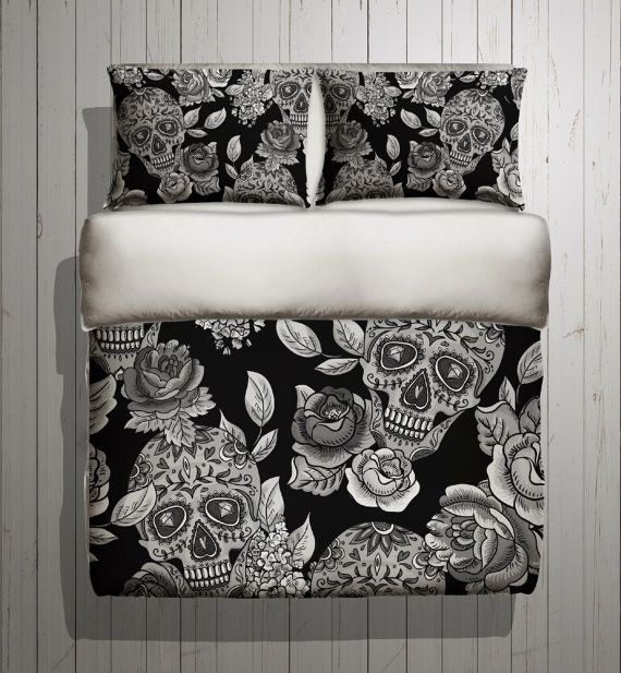 Hey, I found this really awesome Etsy listing at https://www.etsy.com/listing/225304342/sugar-skull-bedding-any-color-mega-print