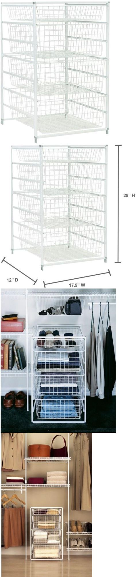 White tilt out clothes storage basket bin bathroom drawer ebay - Storage Bins And Baskets 159898 Closetmaid 29 Steel Drawer Kit Closet Storage Organizer White W